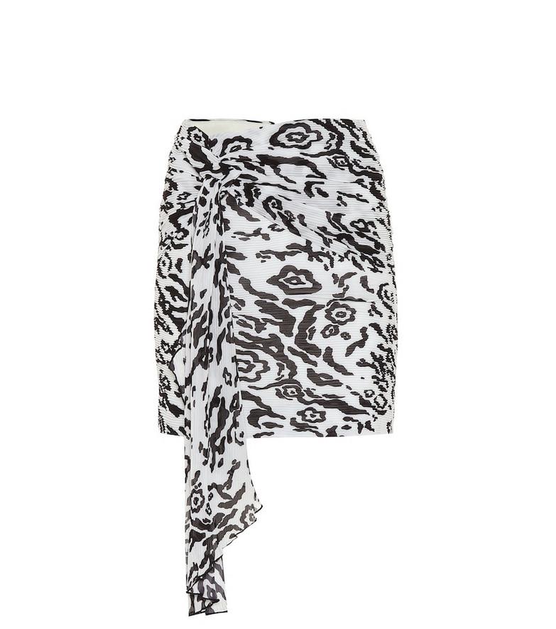 Self-Portrait Leopard-print chiffon miniskirt in white