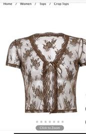 top,brown blouse,transparant,brown