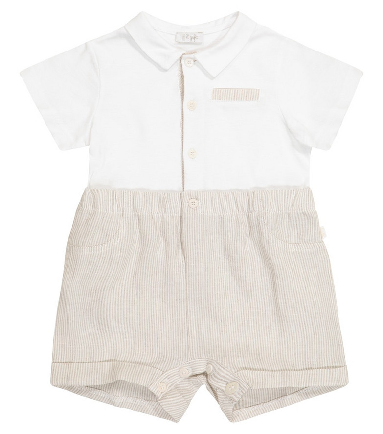 Il Gufo Baby cotton and linen playsuit in white