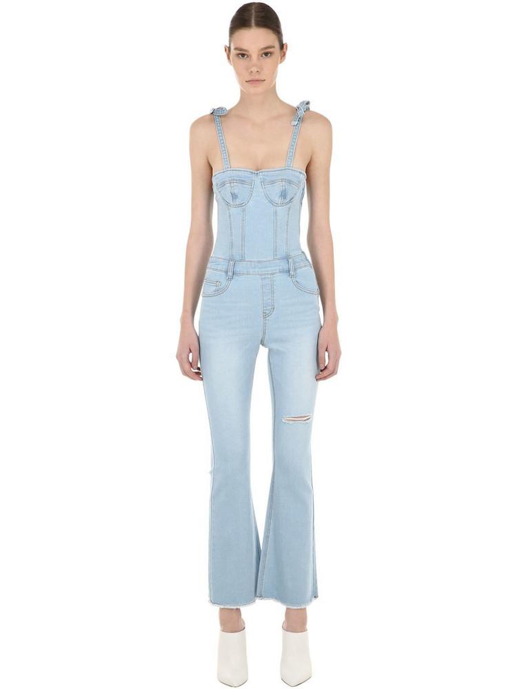 SJYP Corset Cotton Denim Jumpsuit in blue