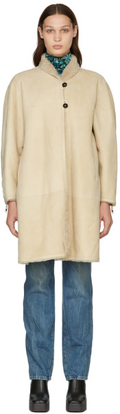 Isabel Marant Reversible Beige Abazoe Shearling Coat in ecru