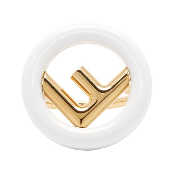 Fendi Gold & White 'F is Fendi' Ring