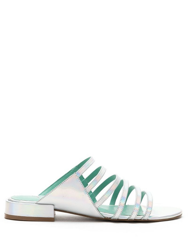 Blue Bird Shoes strappy holographic leather sandals in silver