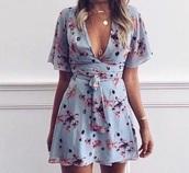 dress,flowers,blue dress,mini dress,summer,spring,cute dress,pastel,low vee cut,blue,raffle,light blue,floral,flowered,three-quarter sleeves,lovely,vee