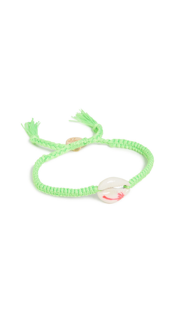 Venessa Arizaga Palm Tree Shell Bracelet in green / pink