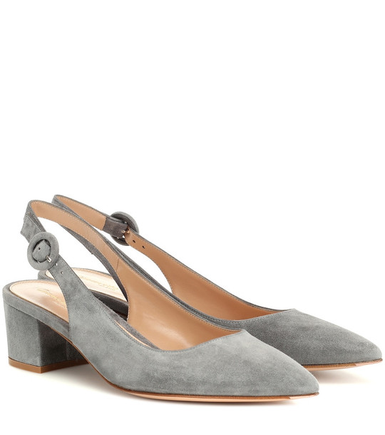 Gianvito Rossi Amee 45 suede slingback pumps in grey