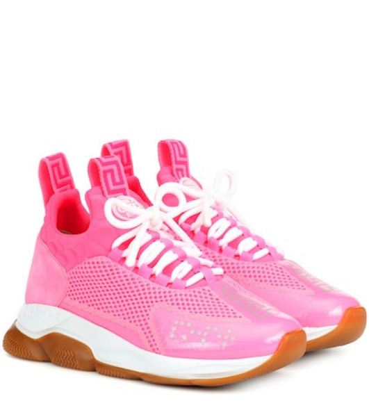 Versace Cross Chainer leather-trimmed sneakers in pink