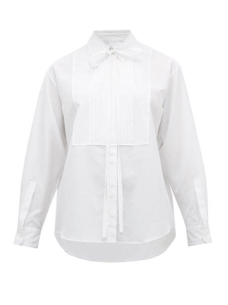 Burberry - Pleated Bib Cotton Blend Tuxedo Shirt - Womens - White