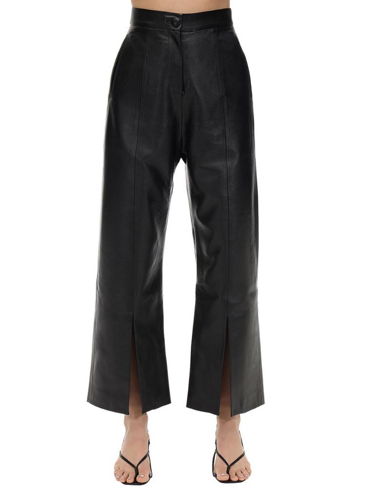 MATÉRIEL Cropped Faux Leather Straight Leg Pants in black
