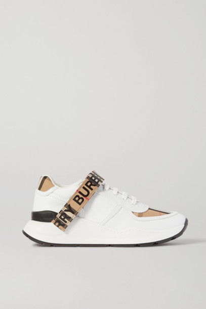 Burberry - Logo-detailed Checked Canvas-trimmed Leather Sneakers - White