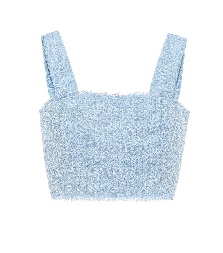 Balmain Metallic knit top in blue