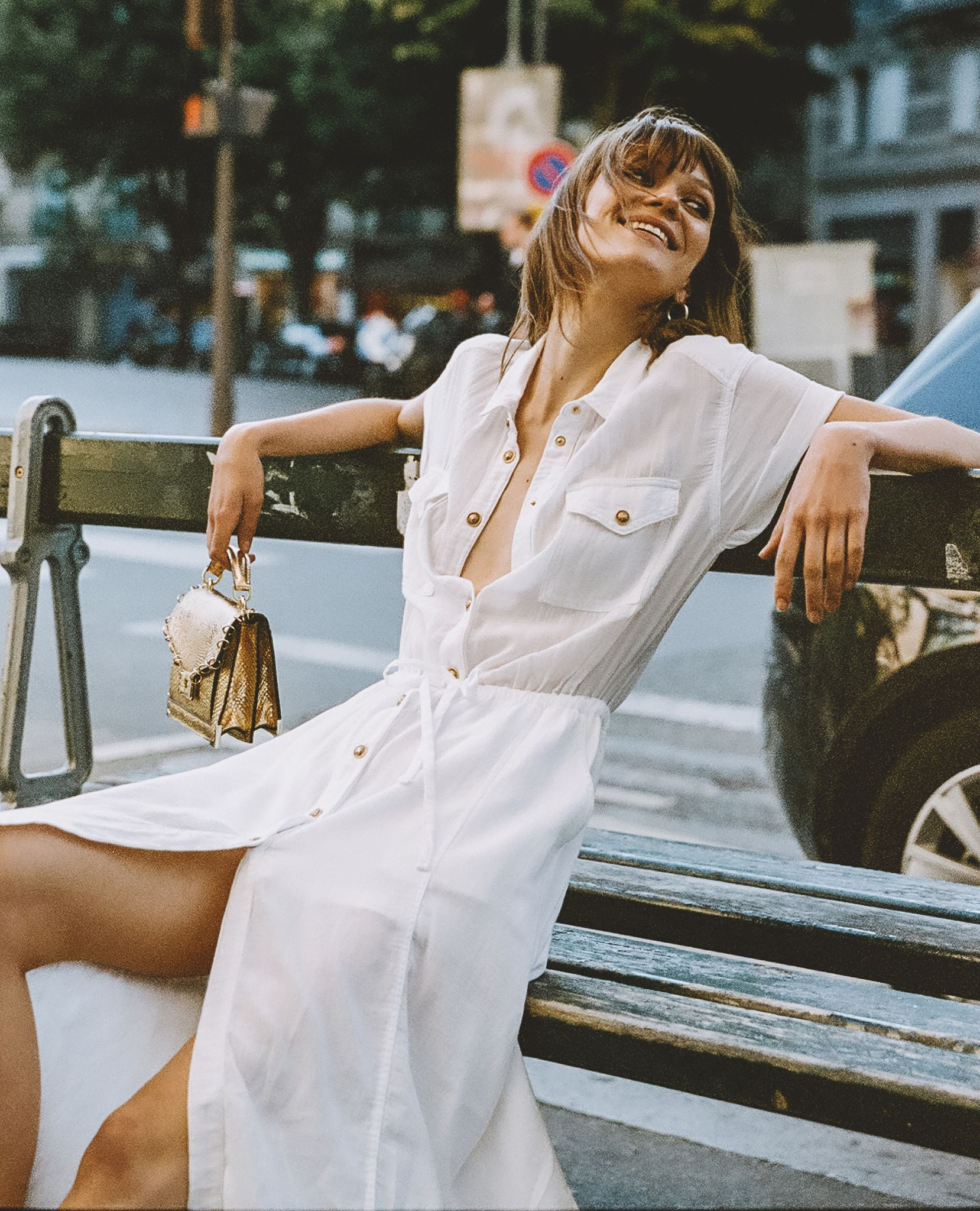 Long white summery party dress