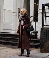 coat,brown coat,plaid,long coat,wool coat,black boots,jeans,black bag,scarf,white top