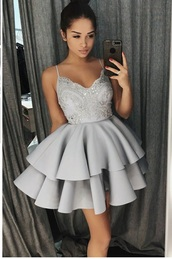 dress,grey dress,prom dress,short dress