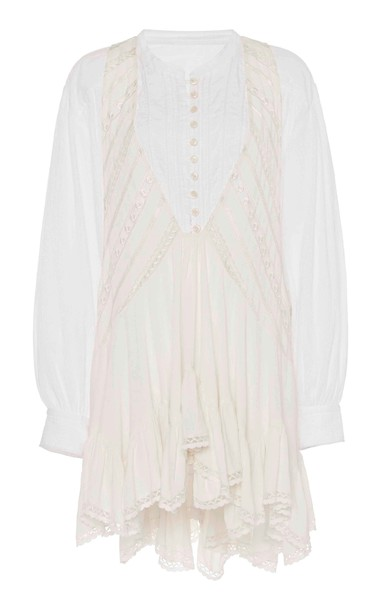 Isabel Marant Yacolt Asymmetric Two-Tone Cotton Dress Size: 32 in neutral