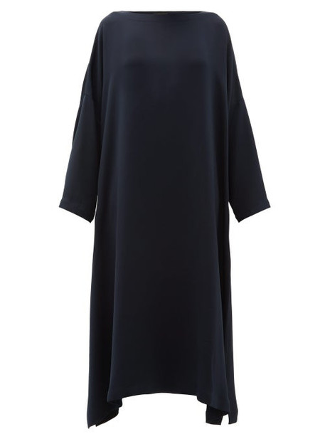 Eskandar - Boat Neck Silk Crepe Midi Dress - Womens - Navy