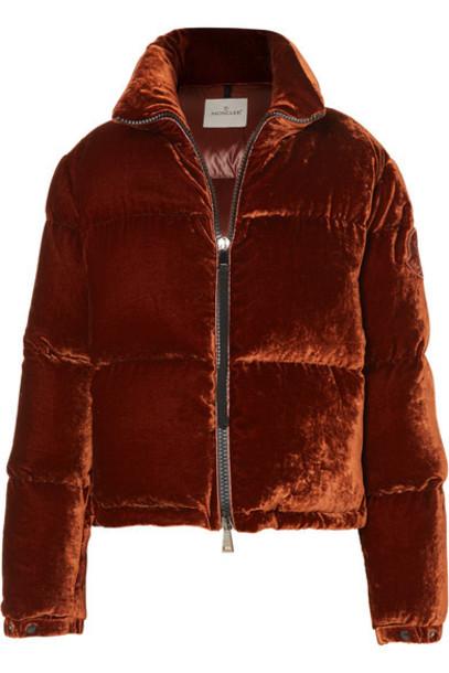 Moncler - Quilted Velvet Down Jacket - Copper