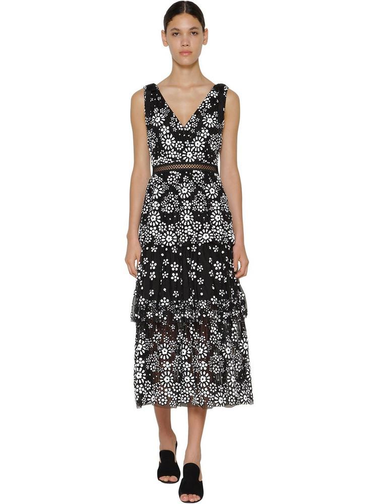 SELF-PORTRAIT Floral Sequined Midi Dress in black / white