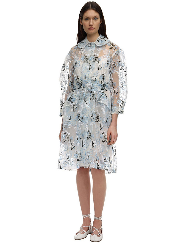 SIMONE ROCHA Embroidered Organza Duster Coat in blue / ivory