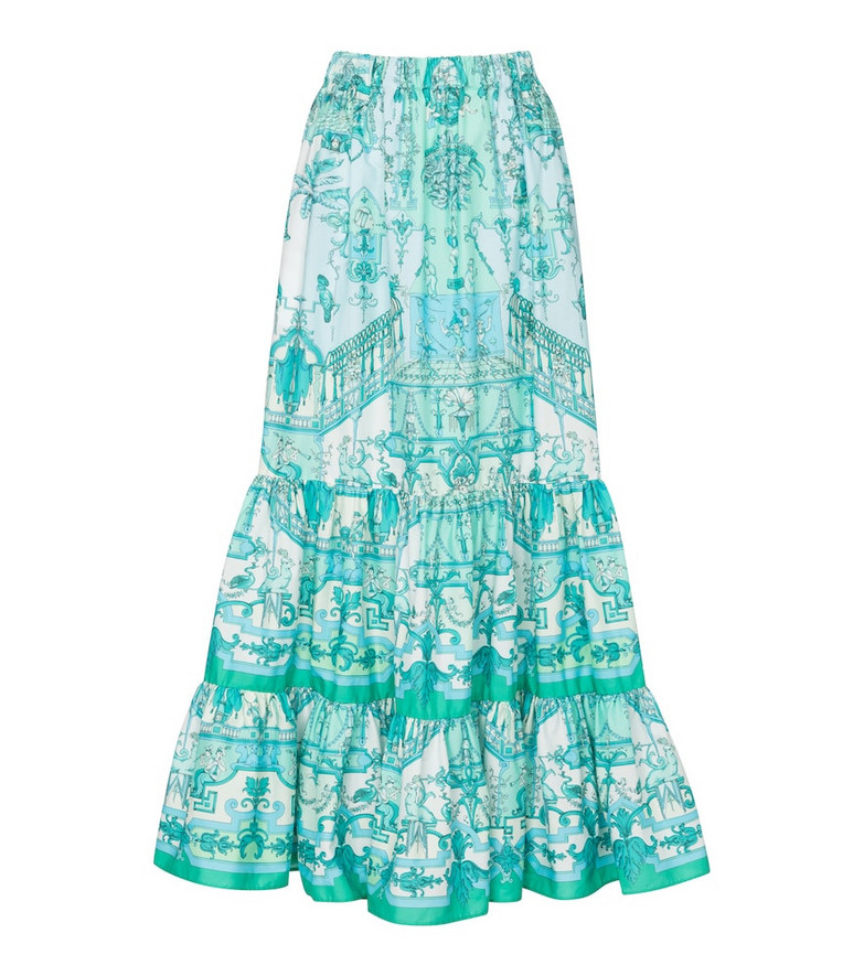 Etro Printed stretch-cotton maxi skirt in blue