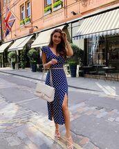 skirt,midi skirt,high waisted skirt,slit skirt,polka dots,set,crop tops,white bag,chanel bag,asos
