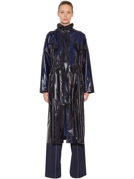 SPORTMAX Coated Nylon Trench Coat in blue