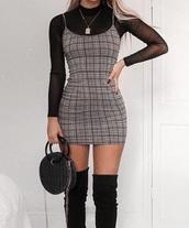 dress,over the top dress,top dress,gingham,plaid,checkered,mini dress,mini,tight