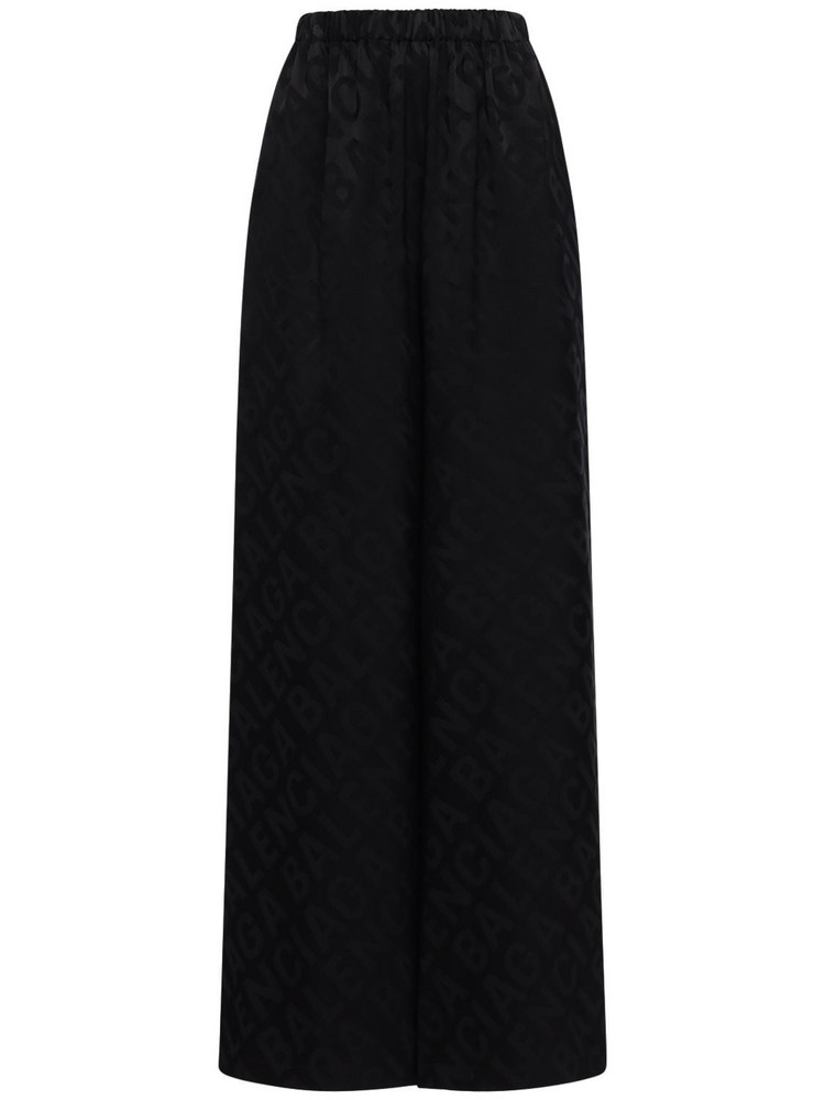 BALENCIAGA Logo Jacquard Satin Wide Leg Pants in black