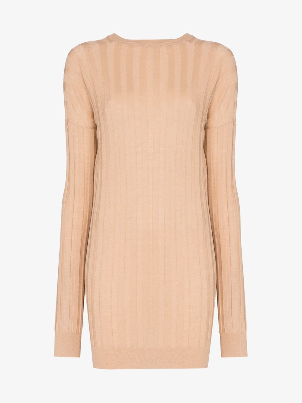 Plan C V-Neck Ribbed Knitted Top in beige