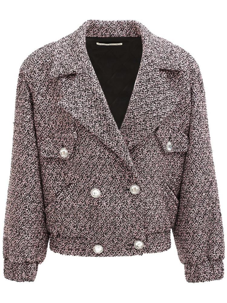 ALESSANDRA RICH Sequin Wool Blend Tweed Bomber Jacket in purple