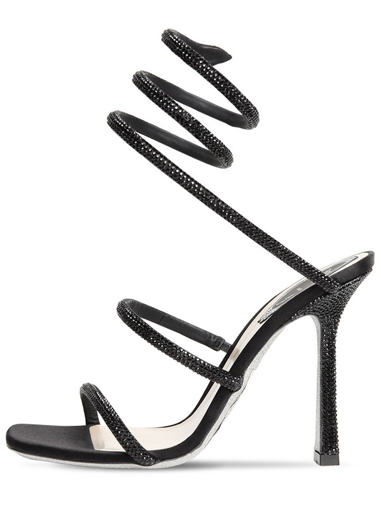 RENÉ CAOVILLA 105mm Embellished Satin Sandals in black