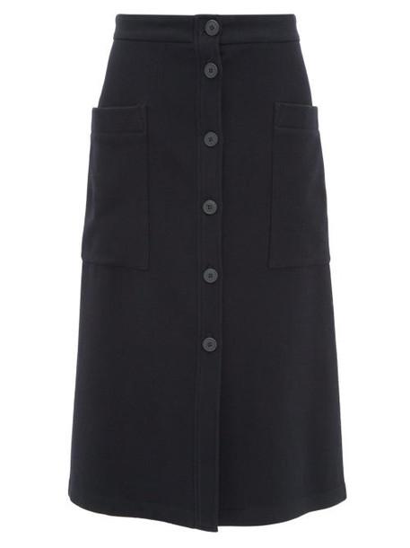 Raey - Button Through A Line Wool Blend Midi Skirt - Womens - Navy