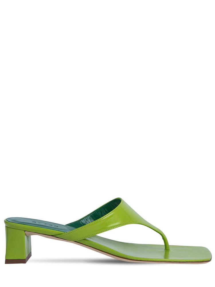 BY FAR 40mm Shawn Leather Thong Sandals in green