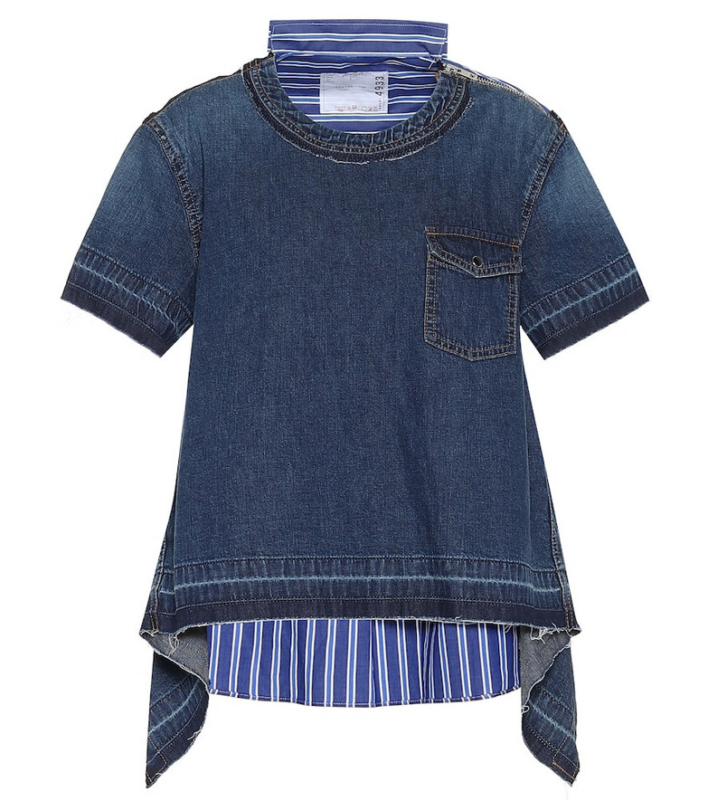 Sacai Striped cotton and denim top in blue