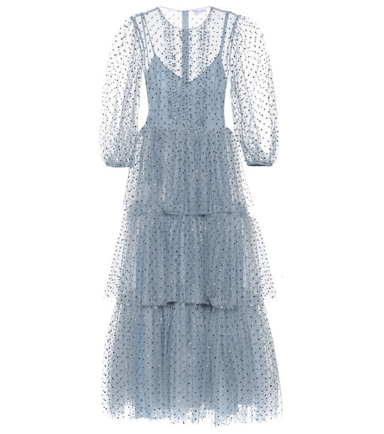 REDValentino Embellished polka-dot tulle gown in blue