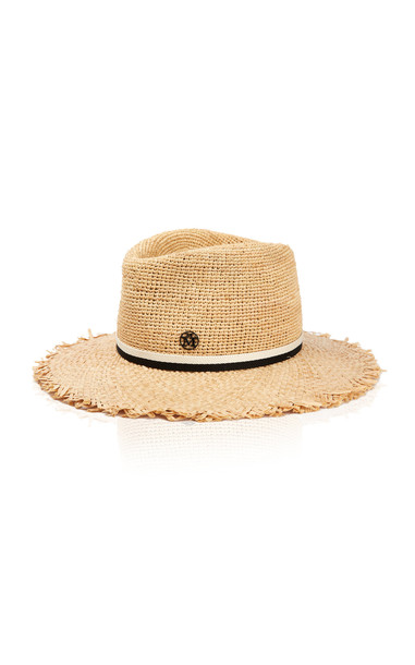 Maison Michel Andre Frayed Crochet Straw Hat in neutral