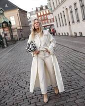 coat,white coat,wool coat,double breasted,boots,white pants,straight pants,white top,long sleeves,plaid,bag