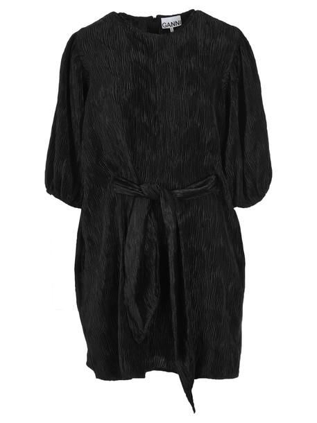 Ganni Pleated Satin Wide Dress in black