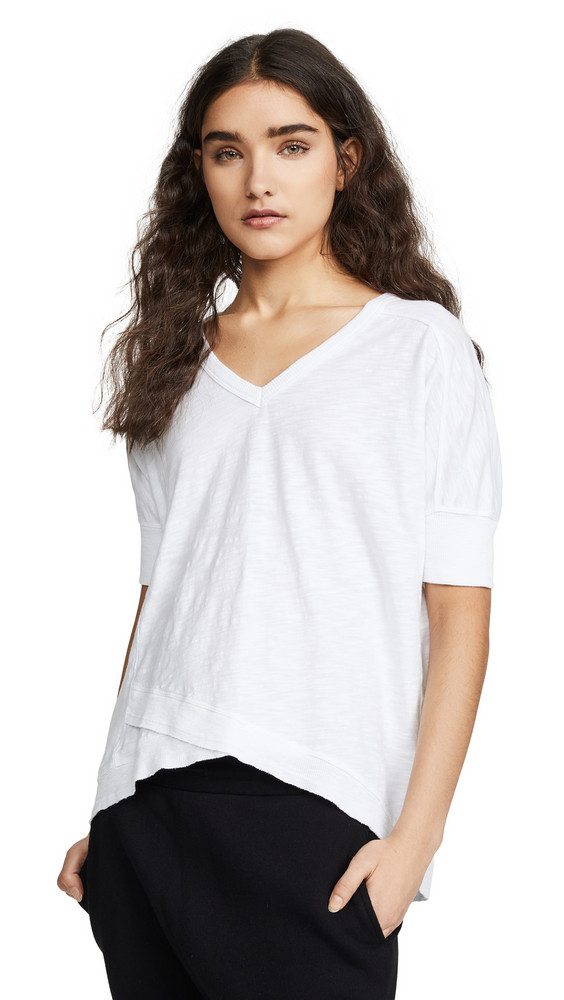 Wilt Deep V Mock Hem Tee in white