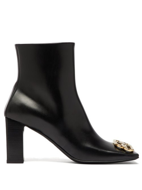 Balenciaga - Double Square Logo Embellished Leather Boots - Womens - Black