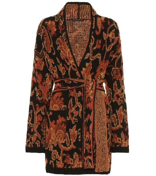 Etro Wool-blend intarsia cardigan in black