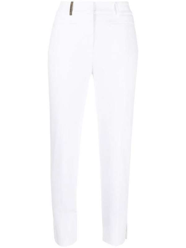 Peserico ankle slit trousers in white