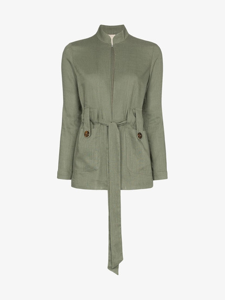 Usisi Alma Belted Linen Jacket in green