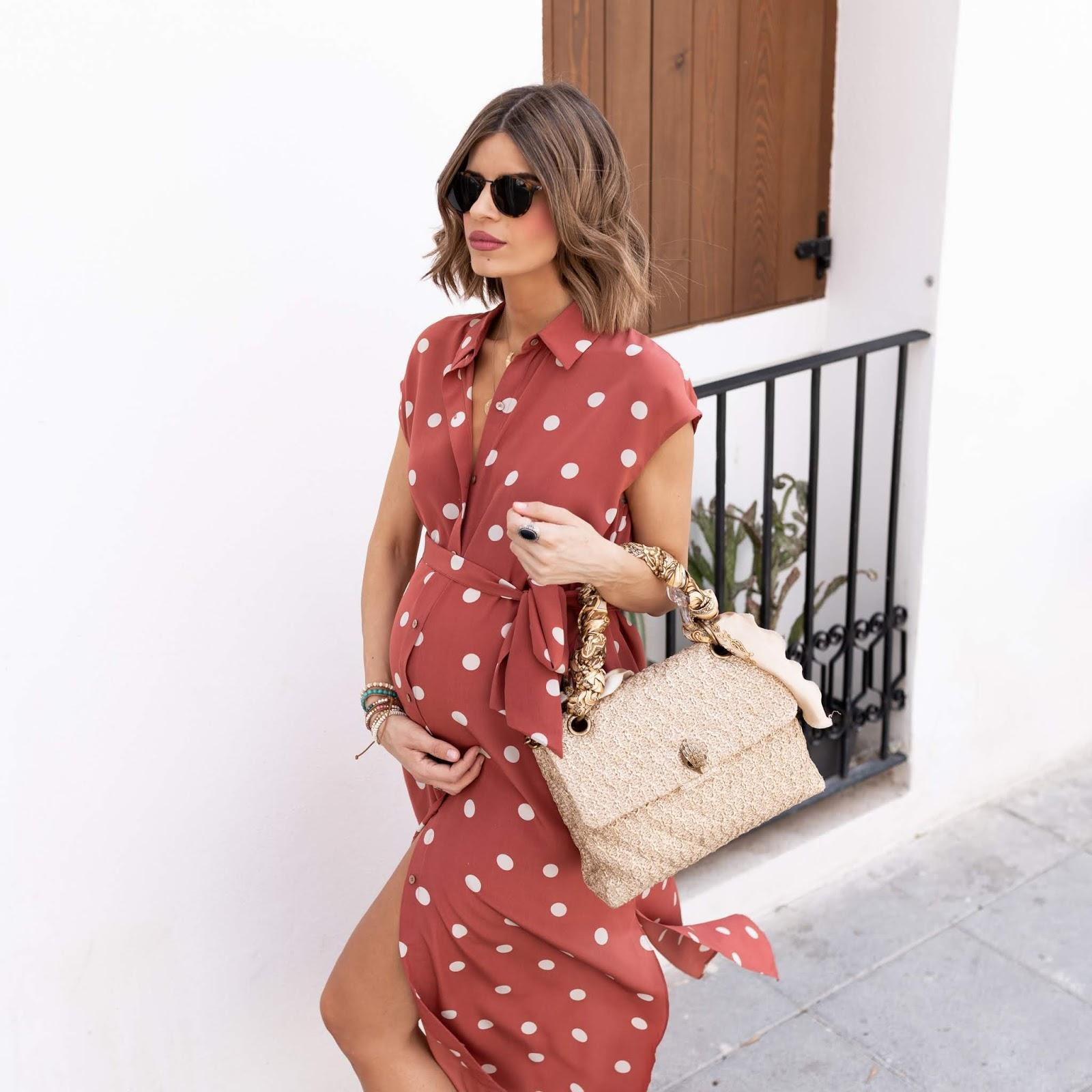 ms treinta blogger dress bag shoes maternity maternity dress polka dots summer outfits