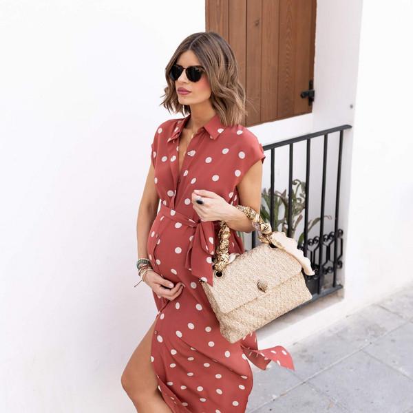 ms treinta blogger dress bag shoes maternity maternity dress polka dots summer outfits