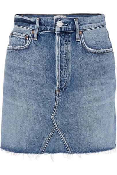 AGOLDE - Ada Distressed Organic Denim Mini Skirt - Mid denim