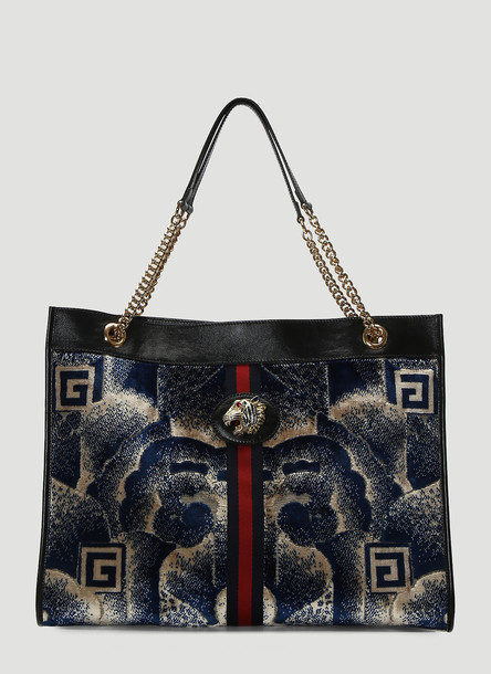 Gucci Rajah Velvet Leather-Trimmed Bag in Blue size One Size