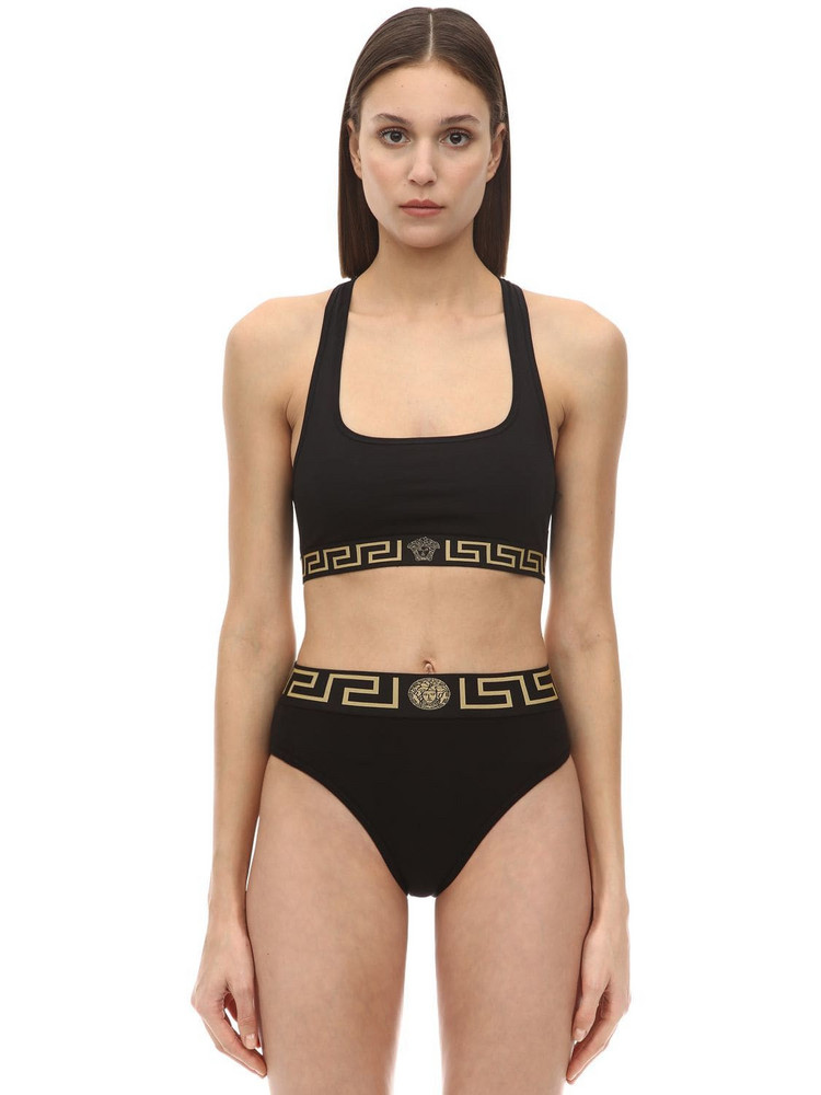 VERSACE Stretch Tech Jersey Top in black
