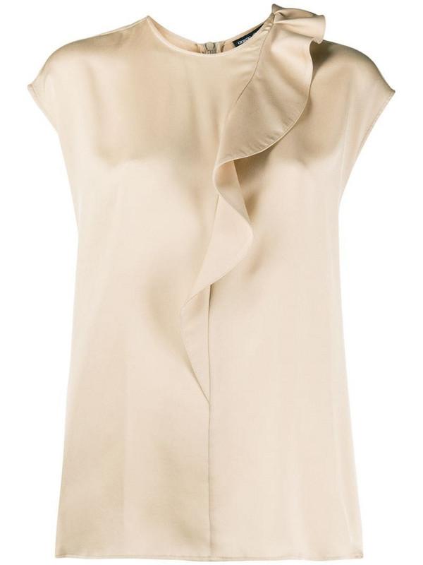 Giorgio Armani silk ruffle trim blouse in neutrals