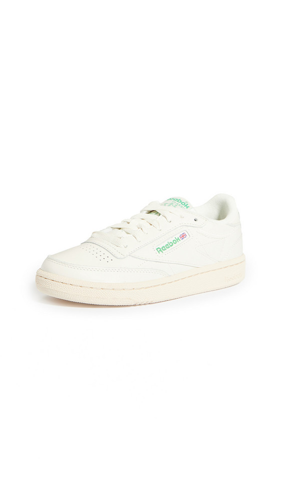 Reebok Club C 85 Classic Lace Up Sneakers in green / red / white